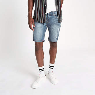 River Island Mid blue Sid ripped skinny fit denim shorts