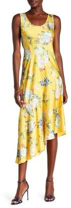 Donna Morgan Sleeveless Printed Charmeuse Asymmetrical Hem Dress