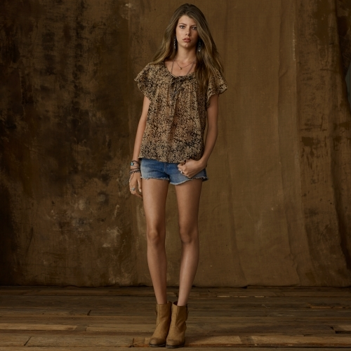 Denim & Supply Ralph Lauren Short-Sleeved Ruffled Top
