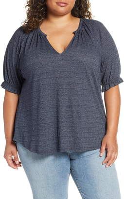 Lucky Brand Textured Knit Peasant Top