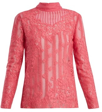 Valentino - High Neck Chantilly Lace Blouse - Womens - Pink