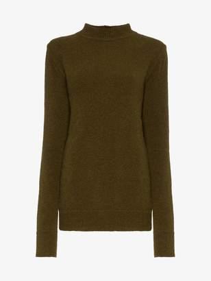 Rick Owens crew neck cutout knitted wool blend sweater