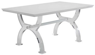 ACME Furniture Acme Martinus Dining Table in High Gloss White and Acrylic