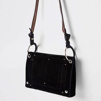 River Island Black leather metal hoop cross body bag