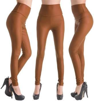 Celine lin Women's PU Leather High Waist Leggings Stretch Pants,Matte Black S
