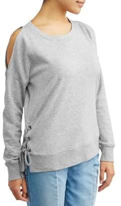 Sofia Jeans Cold Shoulder Side-Lace Grommet Sweatshirt Women's