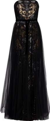 Marchesa Strapless Sequin Tulle Overlay Gown