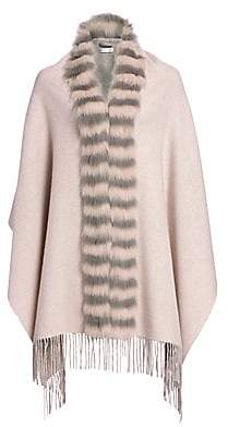 The Fur Salon Women's Fox Fur-Trim Cashmere & Wool Poncho