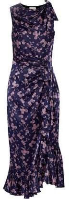 Cinq à Sept Nanon Bow-Embellished Floral-Print Silk-Satin Midi Dress