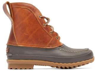 Quoddy Bi Colour Rubber And Leather Field Boots - Mens - Brown