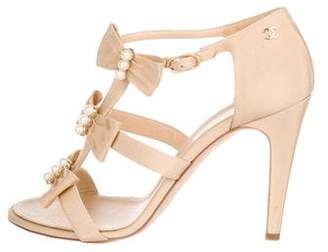 Chanel CC Faux-Pearl Sandals