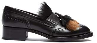 Prada Fur-embellished leather loafers