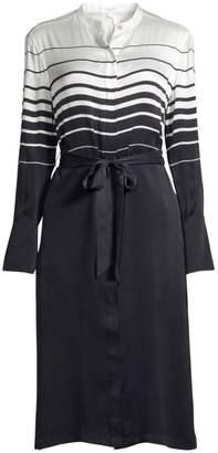Equipment Roseabelle Stripe & Solid Tie-Waist Silk-Blend Shirtdress