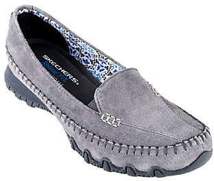 Skechers Suede Relaxed Fit Slip-on Moccasins - Pedestrian $57 thestylecure.com