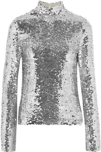 MSGM - Sequined Tulle Turtleneck Top - Silver