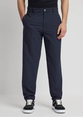 Emporio Armani Pants In Seersucker Fabric With A Fine Stripe Print