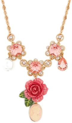 Dolce & Gabbana Floral, crystal and charm necklace