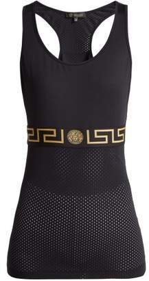 Versace Greek Key Mesh Performance Tank Top - Womens - Black Gold
