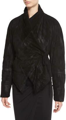Urban Zen Padded Suede Wrap-Front Jacket, Black