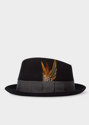 Paul Smith Men's Black Wool-Felt Trilby With Feather