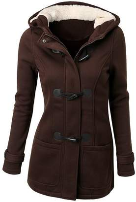 FANTIGO Womens Fashion Wool Blended Classic Hooded Pea Coat Jacket XXL