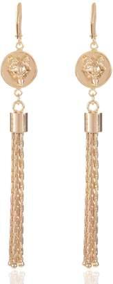 Alexa K - Gold Wolf Tassel Earrings