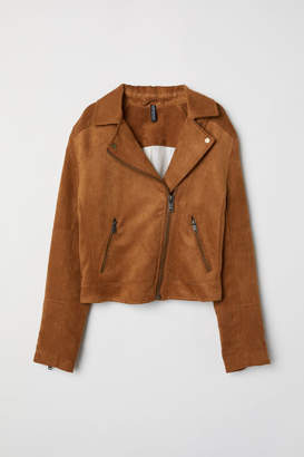 H&M Faux Suede Biker Jacket - Yellow