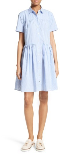 Kate Spade Women's Kate Spade New York Stripe Poplin Swing Shirtdress