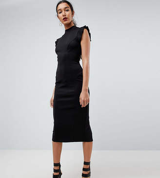 Asos Tall TALL Midi High Neck Pencil Dress With Cut Out Back And Shoulder Detail