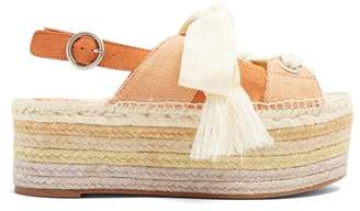 Chloé Qai Open Toed Platform Espadrilles - Womens - Orange Multi