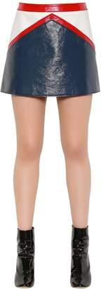 Courreges Color Block Faux Patent Mini Skirt