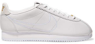 Nike Classic Cortez Faux Suede-trimmed Leather Sneakers - Off-white