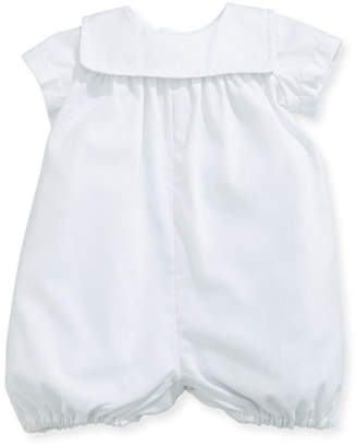 Isabel Garreton Charming Batiste Romper w/ Embroidered Collar, White, Size 3-24 Months