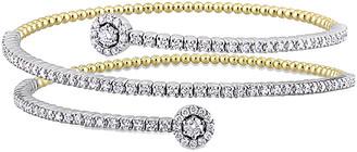 Diamond select cuts 14K Two-Tone 1.77 Ct. Tw. Diamond Wrap Bangle