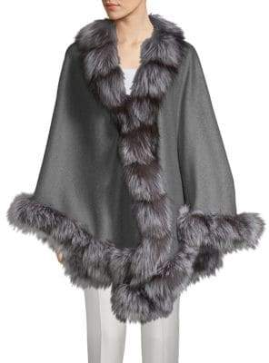 Natural Silver Fox Fur-Trimmed Wool & Cashmere Cape
