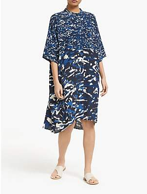 KIN Oversized Printed Shirt Dress, Blue