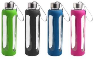 Estilo Glass Water Bottle Set w/ Stainless Steel Cap (20oz, 4 pcs)