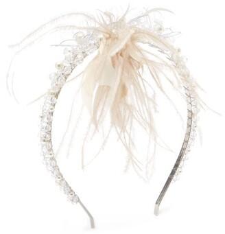 Simone Rocha Floral Crystal, Bead And Feather Headband - Womens - Clear