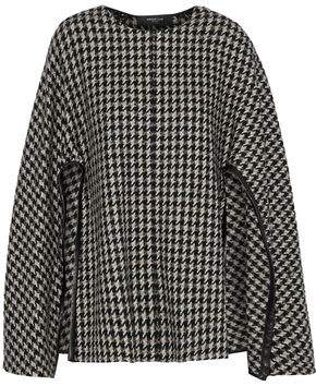 Derek Lam Leather-trimmed Houndstooth Wool-blend Tweed Cape