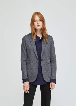 Harris Wharf London Checked Wool Cotton Boyfriend Blazer