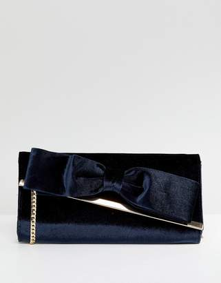 Oasis Velvet Bow Front Clutch Bag