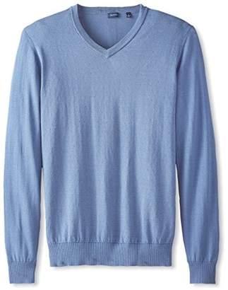 Thirty Five Kent Men's Silk/Cotton Dot Jacquard V-Neck