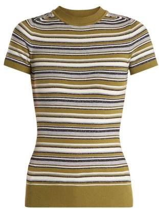 Joostricot - Crew Neck Striped Short Sleeved Knit Sweater - Womens - Multi