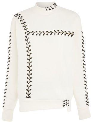 Topshop Lace up sweatshirt