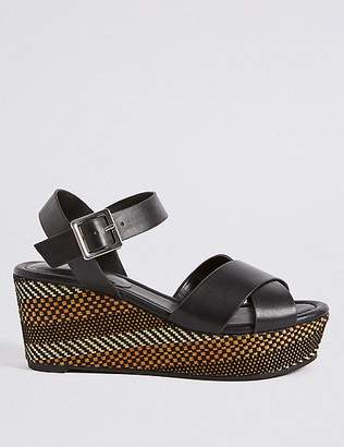 Marks and Spencer Wedge Heel Textured Crossover Sandals