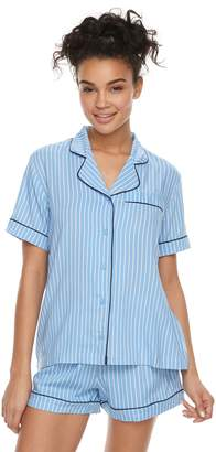 Peace Love & Fashion Juniors' Peace, Love & Fashion Printed Shirt & Boxer Shorts Pajama Set