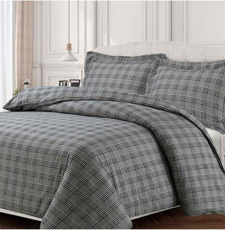 Tribeca Living Savannah Cotton Flannel Printed Oversized King Duvet Set Bedding