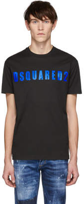 DSQUARED2 Black and Blue Acid Glam Punk Cool Fit T-Shirt