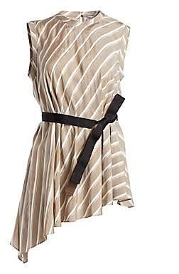 fce8056575503 Brunello Cucinelli Women s Striped Asymmetric Silk Top