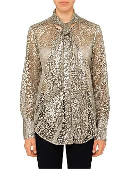 Equipment Luis - Gold Lame Neck Tie Blouse